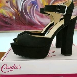 """Candie's Ankle strap black suede 5"""" heels."""